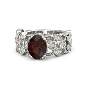 Oval Red Garnet Platinum Ring with Rhodolite Garnet & White Sapphire