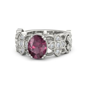 Oval Rhodolite Garnet Platinum Ring with Diamond