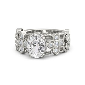 Oval White Sapphire Platinum Ring with Diamond
