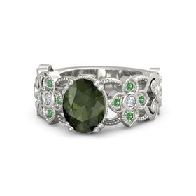 Oval Green Tourmaline Platinum Ring with Diamond & Emerald