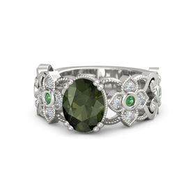 Oval Green Tourmaline Platinum Ring with Emerald and Diamond
