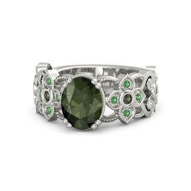 Oval Green Tourmaline Platinum Ring with Green Tourmaline and Emerald