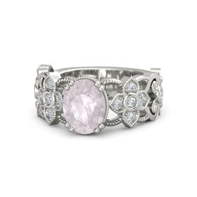 Oval Rose Quartz Platinum Ring with Diamond