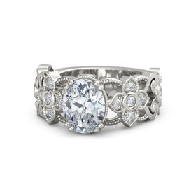 Oval Moissanite Platinum Ring with Diamond