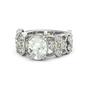 Oval Green Amethyst Platinum Ring with Peridot & White Sapphire