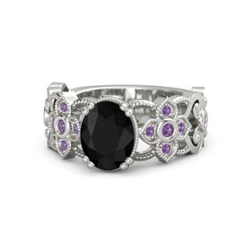 Oval Black Onyx Platinum Ring with Amethyst