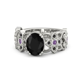 Oval Black Onyx Platinum Ring with Amethyst & Black Diamond