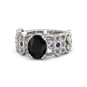Oval Black Onyx Platinum Ring with Black Diamond and Amethyst