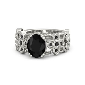 Oval Black Onyx Platinum Ring with Black Diamond