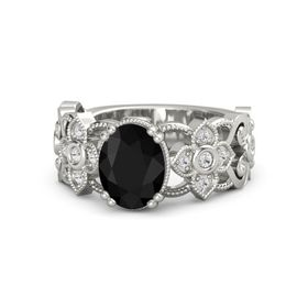 Oval Black Onyx Platinum Ring with White Sapphire