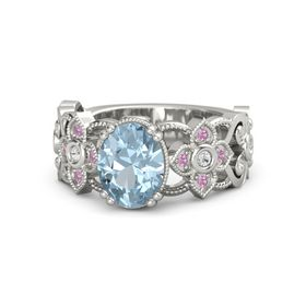 Oval Aquamarine Platinum Ring with White Sapphire & Pink Tourmaline