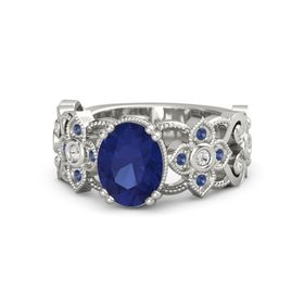 Oval Blue Sapphire Platinum Ring with White Sapphire and Blue Sapphire