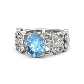 Oval Blue Topaz Platinum Ring with Diamond