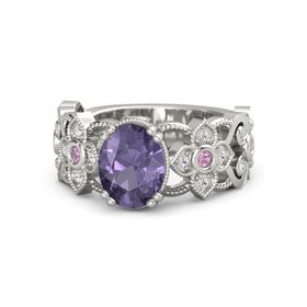 Oval Iolite Platinum Ring with Pink Tourmaline and White Sapphire