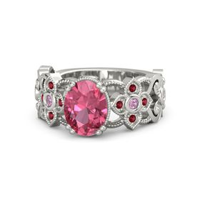 Oval Pink Tourmaline Platinum Ring with Pink Tourmaline & Ruby