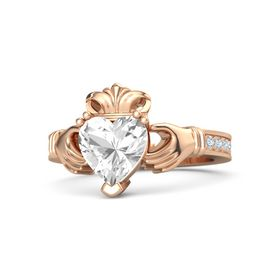 Heart Rock Crystal 14K Rose Gold Ring with Diamond