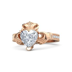 Heart Diamond 14K Rose Gold Ring with Diamond