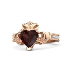 Heart Red Garnet 14K Rose Gold Ring with Diamond