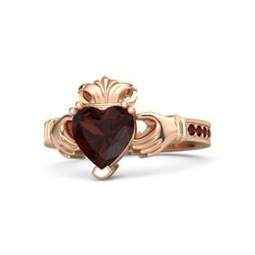 Heart Red Garnet 14K Rose Gold Ring with Red Garnet