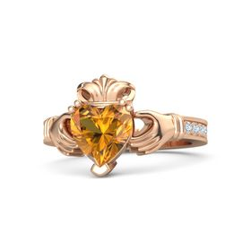 Heart Citrine 14K Rose Gold Ring with Diamond