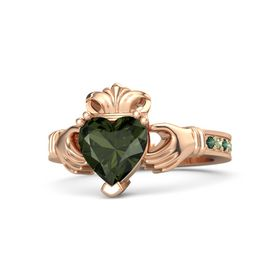 Heart Green Tourmaline 14K Rose Gold Ring with Alexandrite and Peridot
