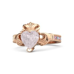 Heart Rose Quartz 14K Rose Gold Ring with Pink Sapphire and Blue Topaz