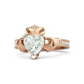Heart Green Amethyst 14K Rose Gold Ring with White Sapphire
