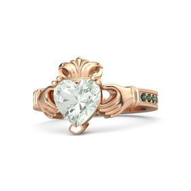 Heart Green Amethyst 14K Rose Gold Ring with Alexandrite and Green Tourmaline