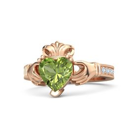 Heart Peridot 14K Rose Gold Ring with Diamond