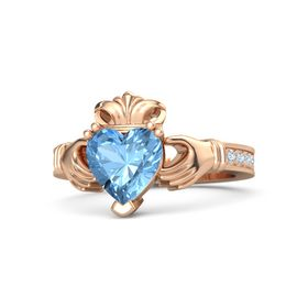 Heart Blue Topaz 14K Rose Gold Ring with Diamond