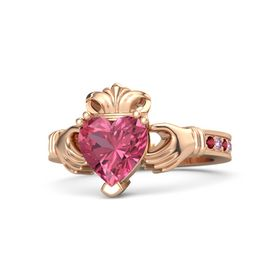 Heart Pink Tourmaline 14K Rose Gold Ring with Ruby & Pink Sapphire