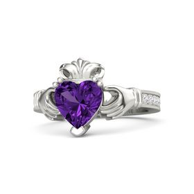 Heart Amethyst 14K White Gold Ring with White Sapphire