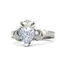Heart Diamond 14K White Gold Ring with Diamond
