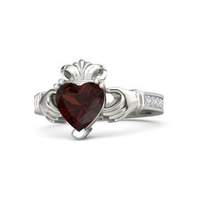 Heart Red Garnet 14K White Gold Ring with Diamond