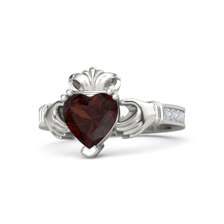 Heart Red Garnet 14k White Gold Ring With Diamond King