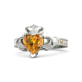 Heart Citrine 14K White Gold Ring with Citrine and White Sapphire