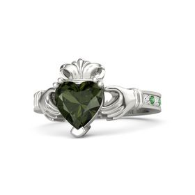 Heart Green Tourmaline 14K White Gold Ring with White Sapphire and Emerald
