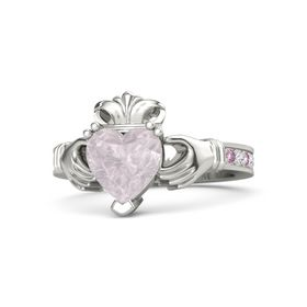 Heart Rose Quartz 14K White Gold Ring with Pink Sapphire and White Sapphire