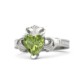 Heart Peridot 14K White Gold Ring with Diamond