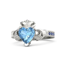 Heart Blue Topaz 14K White Gold Ring with Sapphire