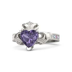 Heart Iolite 14K White Gold Ring with Aquamarine and Pink Sapphire