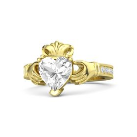 Heart Rock Crystal 14K Yellow Gold Ring with White Sapphire and Diamond