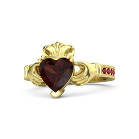Heart Red Garnet 14K Yellow Gold Ring with Ruby