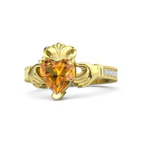 Heart Citrine 14K Yellow Gold Ring with Diamond