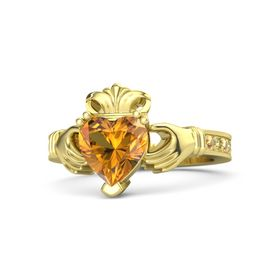 Heart Citrine 14K Yellow Gold Ring with Citrine & Yellow Sapphire