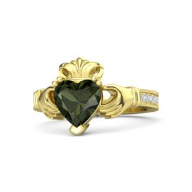 Heart Green Tourmaline 14K Yellow Gold Ring with Diamond