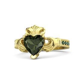 Heart Green Tourmaline 14K Yellow Gold Ring with Alexandrite