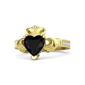 Heart Black Onyx 14K Yellow Gold Ring with Diamond