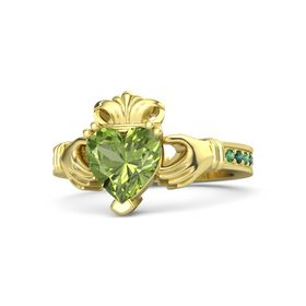 Heart Peridot 14K Yellow Gold Ring with Emerald & Alexandrite