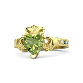 Heart Peridot 14K Yellow Gold Ring with White Sapphire and Alexandrite